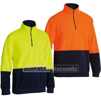 Bisley Bisley BK6889 Hi-Vis Quarter Zip Polar Fleece Jumper