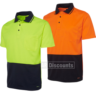JB's Wear JB's 6HVNC Hi-Vis Non Cuff Traditional Polo Short Sleeve