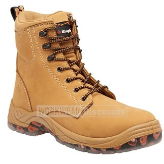 King Gee King Gee K27190 Blaze Lace Up Zip Side Steel Cap Boots Wheat