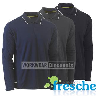 Bisley Bisley BK6425 Reflective Piping Cool Mesh Polo Shirt Long Sleeve