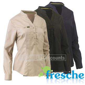 Bisley Bisley BLC6063 Womens Stretch V-Neck Closed Front Shirt Long Sleeve