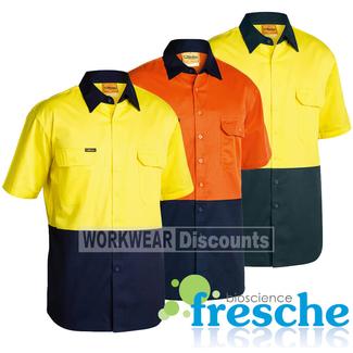 Bisley Bisley BS1895 Hi-Vis Lightweight Cotton Drill Shirt Short Sleeve