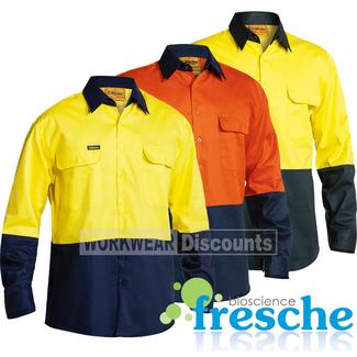 Bisley Bisley BS6267 Hi-Vis Cotton Drill Shirt Long Sleeve