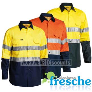 Bisley Bisley BS6896 Hi-Vis Taped Lightweight Cotton Drill Shirt Gusset Long Sleeve