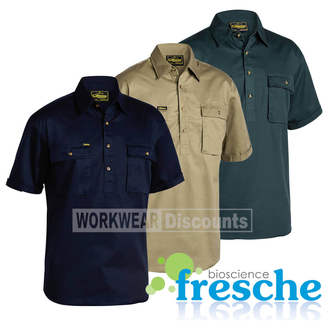 Bisley Bisley BSC1433 Closed Front Cotton Drill Shirt Short Sleeve