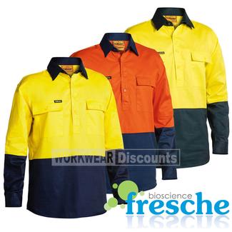 Bisley Bisley BSC6267 Hi-Vis Closed Front Cotton Drill Shirt Long Sleeve