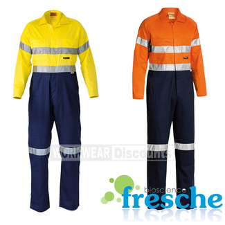 Bisley Bisley BC6719TW Hi-Vis Taped Lightweight Cotton Drill Coverall