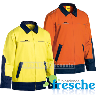 Bisley Bisley BJ6917 Hi-Vis Cotton Drill Jacket with Liquid Repellent Finish