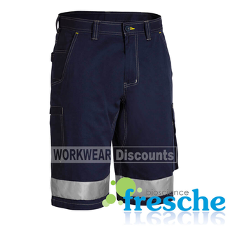 Bisley Bisley BSHC1432T Taped Lightweight Vented Cotton Drill Cargo Shorts