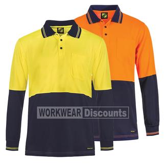 WorkCraft WorkCraft WSP202 Hi-Vis Micromesh Polo Long Sleeve