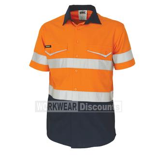 DNC DNC 3587 RipStop Cool Cotton Reflective Shirt Short Sleeve Orange/Navy