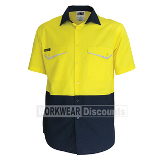 DNC DNC 3585 RipStop Cool Cotton Shirt Short Sleeve Yellow/Navy