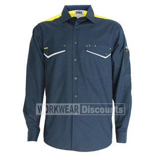 DNC DNC 3582 RipStop Cool Cotton Shirt Long Sleeve Navy/Yellow