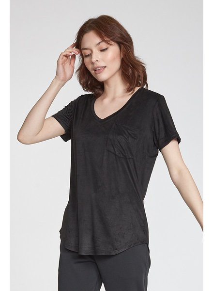 Phoenix Suede V-Neck Black