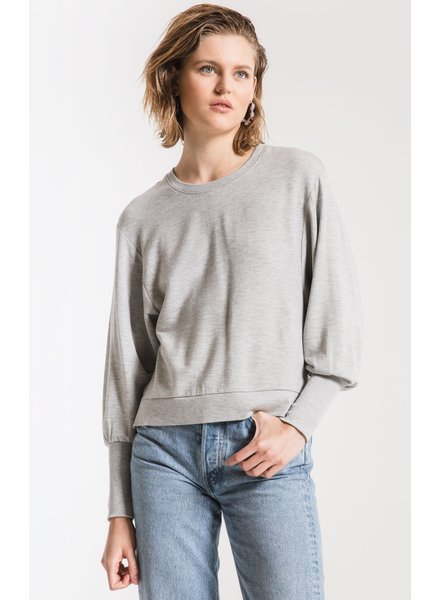 Z Supply Silver Bow Puff Sleeve Top
