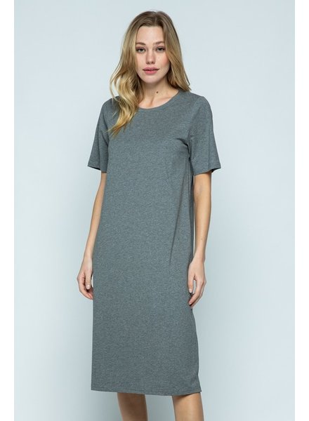 Heather Grey Midi Tee Dress