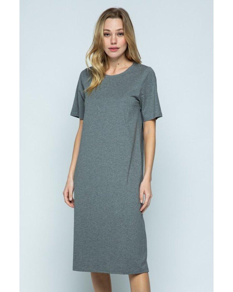 Heather Grey Midi Tee Dress