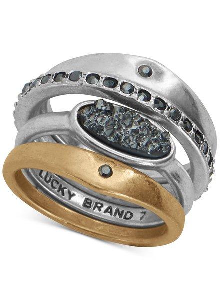 Lucky Brand Druzy Diamond Ring Set