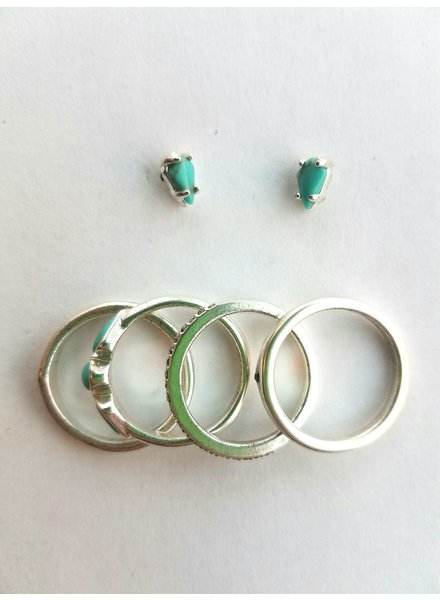 Lucky Brand Silver Ring & Earring Set