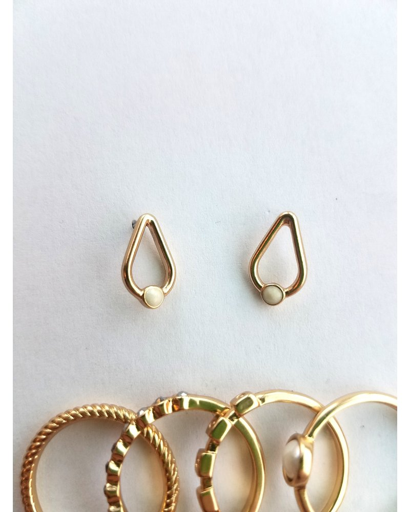 Lucky Brand Two Tone Ring & Earring Set