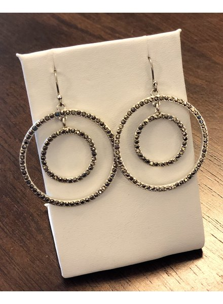 Lucky Brand Silver Pave Orbit Drop Earrings