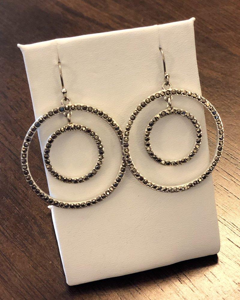Lucky Brand Silver Pave Orbit Drop Earrings