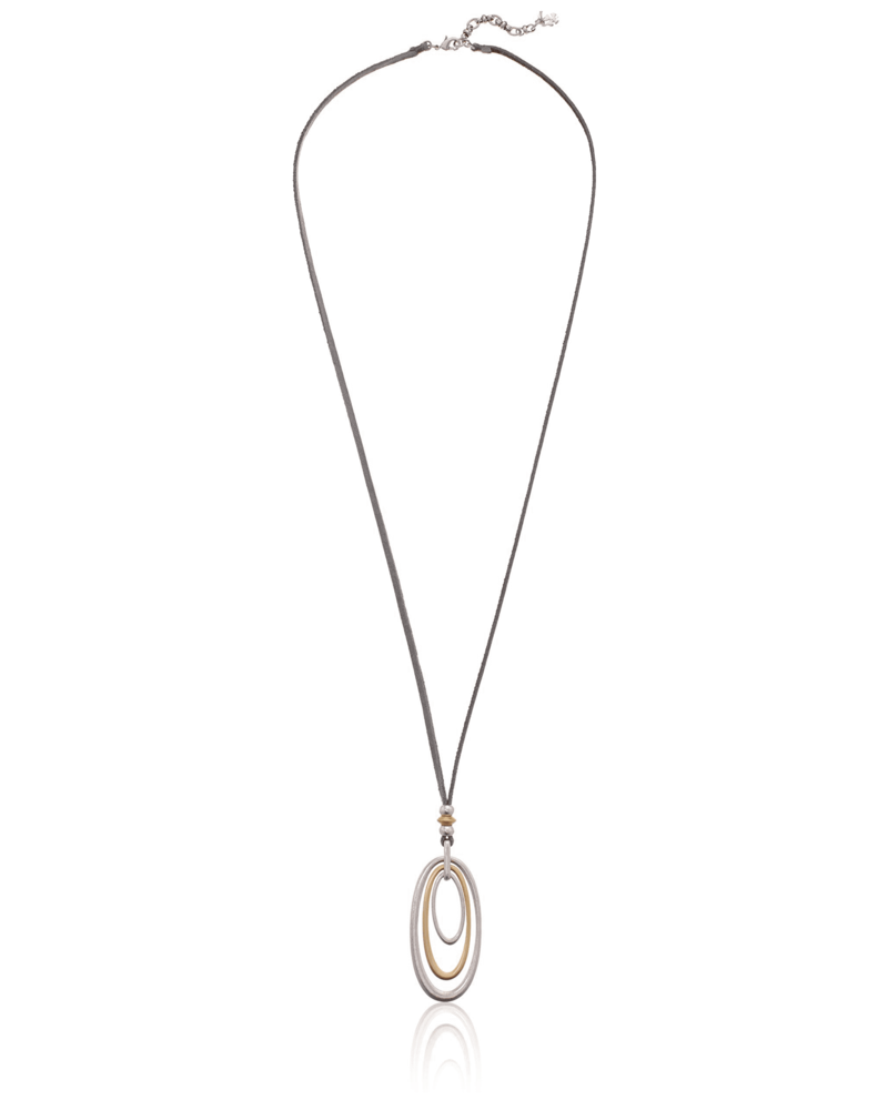 Lucky Brand Leather Triple Ring Necklace