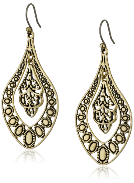 Lucky Brand Gold Filigree Oblong Earring