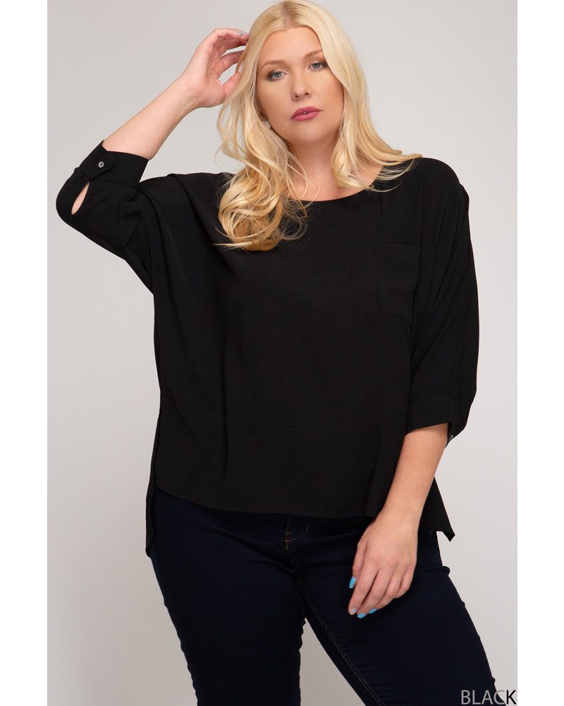 Black Shadow Pocket Blouse