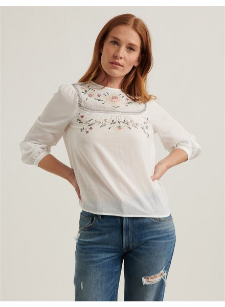 Lucky Brand Embroidered Yoke Top