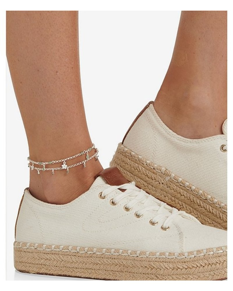 Lucky Brand Charm And Pave Bar Anklet Set