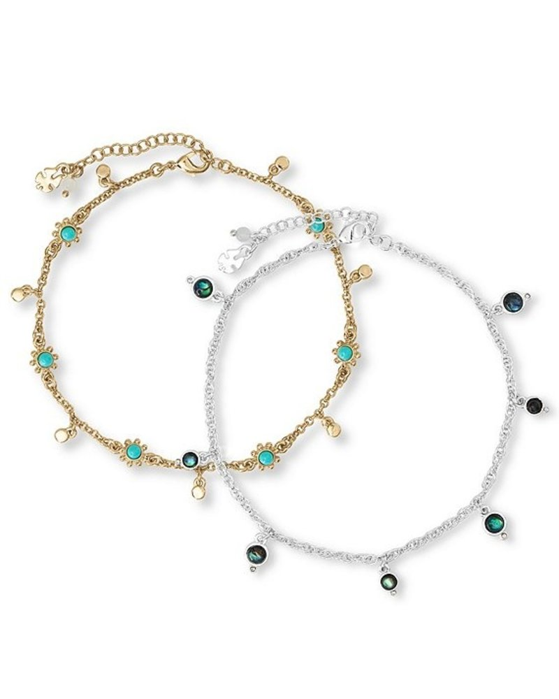 Lucky Brand Stone And Shell Anklet Set