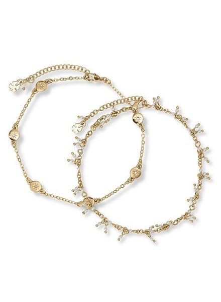 Lucky Brand Pave Star Anklet Set