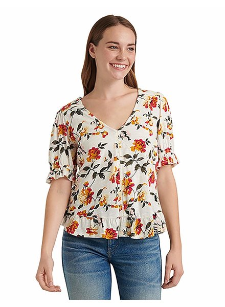 Lucky Brand Print SS Peasant Top
