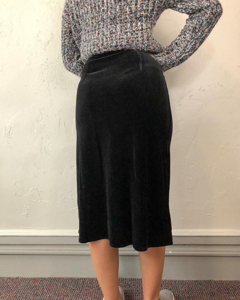 Petunia Black Velvet Skirt