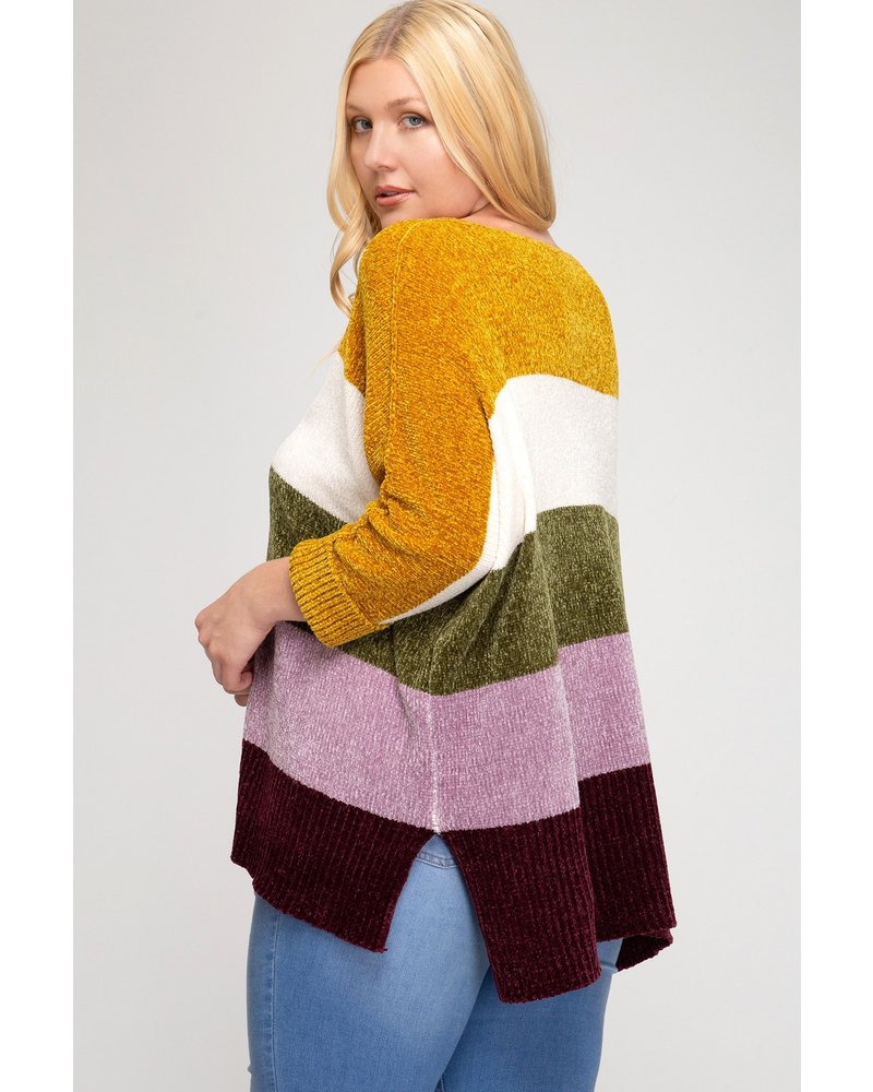 Color Block Chenille Cuff Sleeve Sweater +