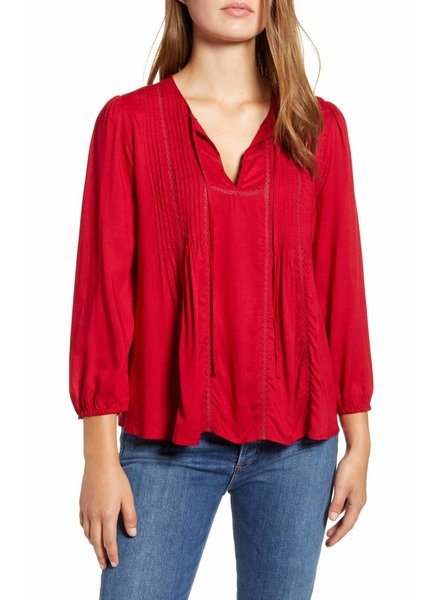 Lucky Brand Skalkaho Red Popover Top