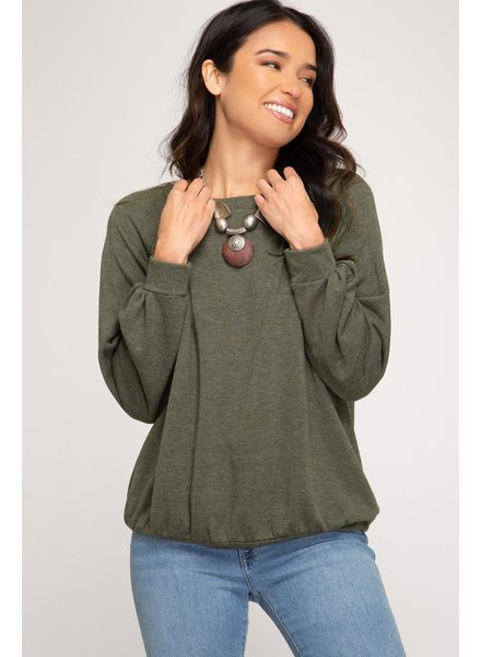 French Terry Olive Knit Top +