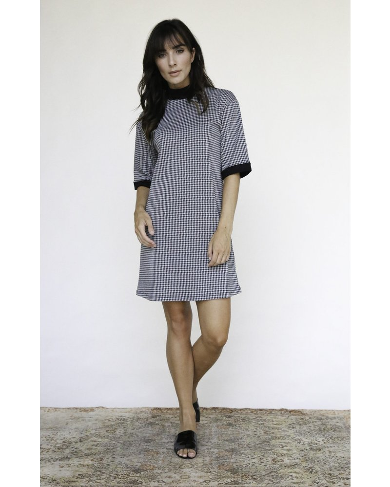 Rhea Contrast Houndstooth Dress