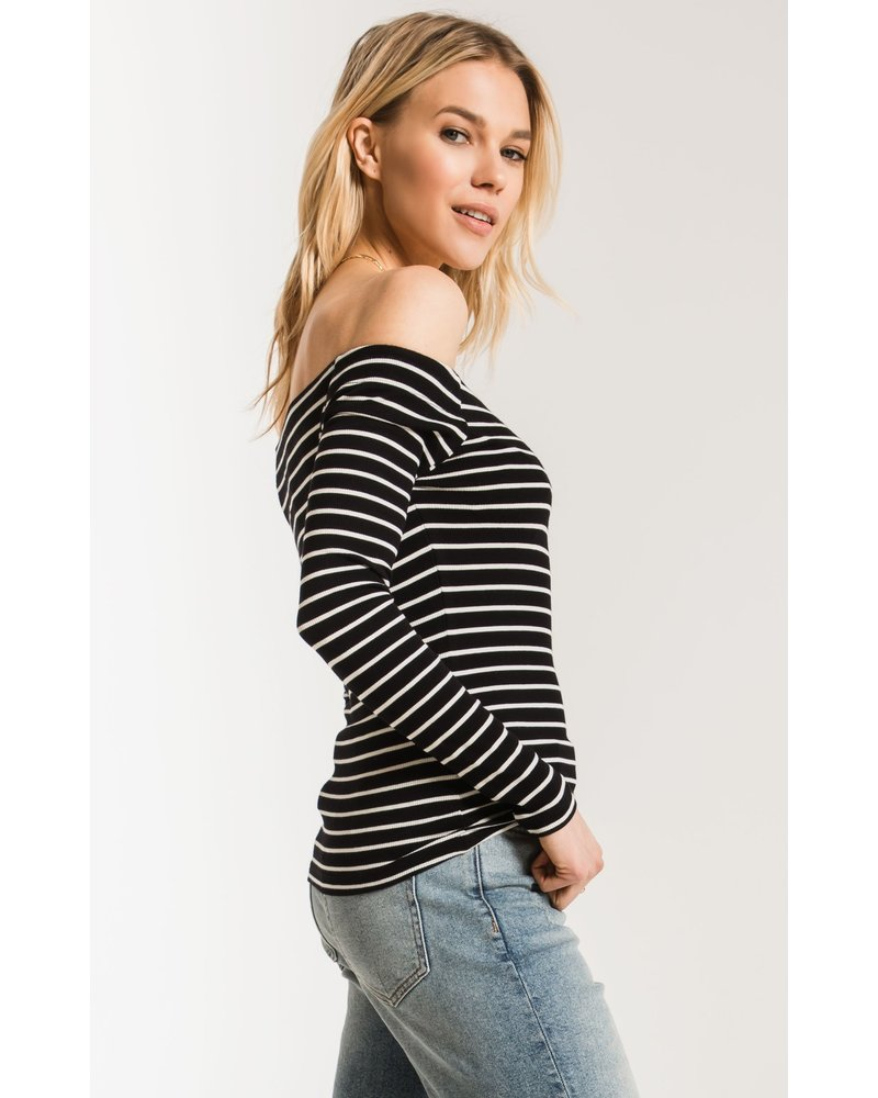 Z Supply Stripe L/S Off Shoulder Top