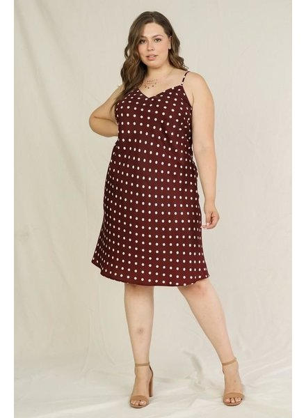 Merlot Polka Dot Dress +