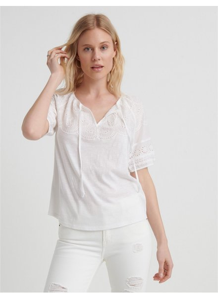 Lucky Brand Embroidered Peasant V-Neck Top