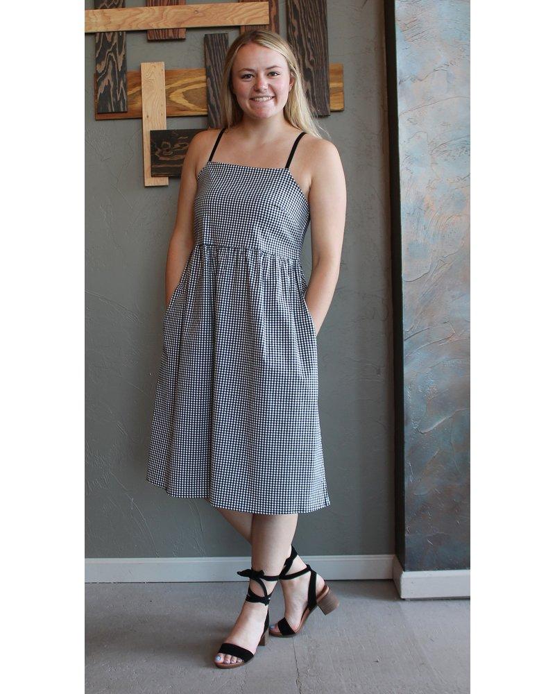 Adjustable Strap Gingham Dress