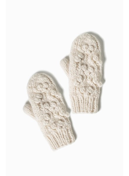 Snowball Cable Popcorn Mittens