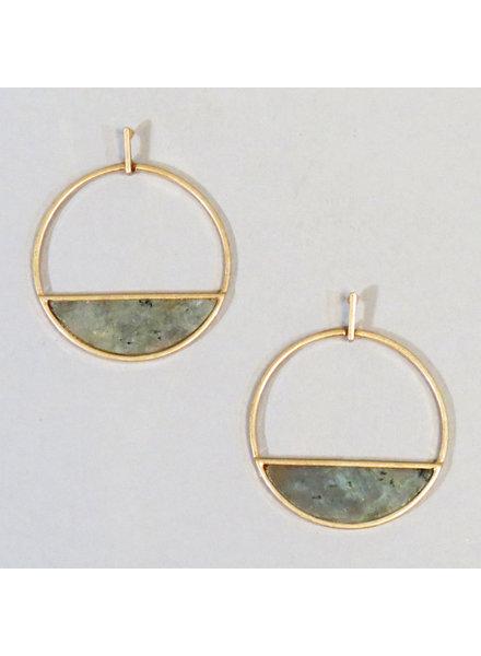 Stone Hoop Earrings