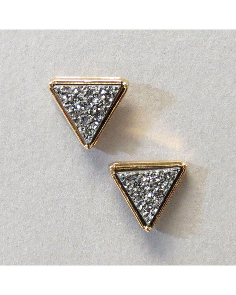 Hematite Triangle Studs