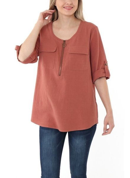 IJoah Zip It Up Blouse
