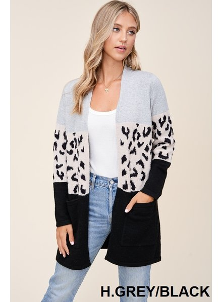Live It Up Cardigan in Black and Grey