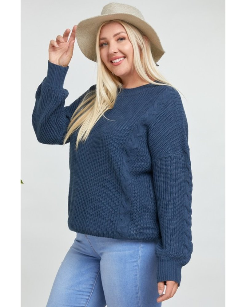 Davi & Dani Chill Out Cable Knit Sweater