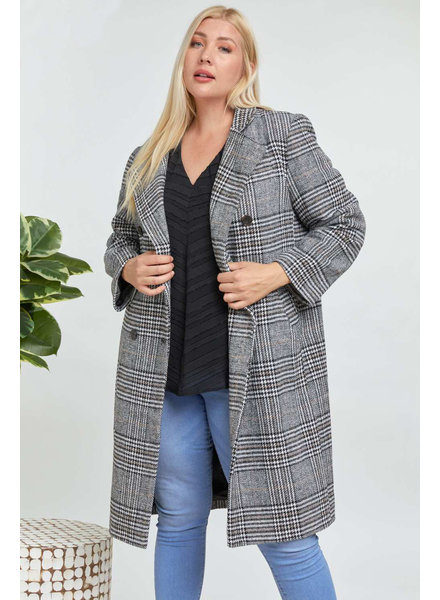 Davi & Dani Cut Loose Plaid Jacket